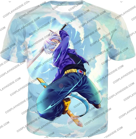 Image of Dragon Ball Super Extremely Powerful Hero Future Trunks Awesome Action White T-Shirt Dbs078 / Us Xxs