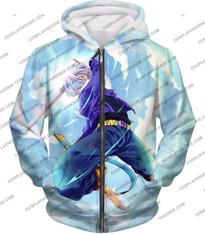 Image of Dragon Ball Super Extremely Powerful Hero Future Trunks Awesome Action White T-Shirt Dbs078 Zip Up