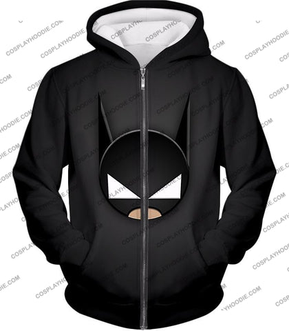 Image of Funny Batman Animated Mask Cool Black T-Shirt Bm078 Zip Up Hoodie / Us Xxs (Asian Xs)