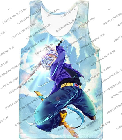 Image of Dragon Ball Super Extremely Powerful Hero Future Trunks Awesome Action White T-Shirt Dbs078 Tank Top