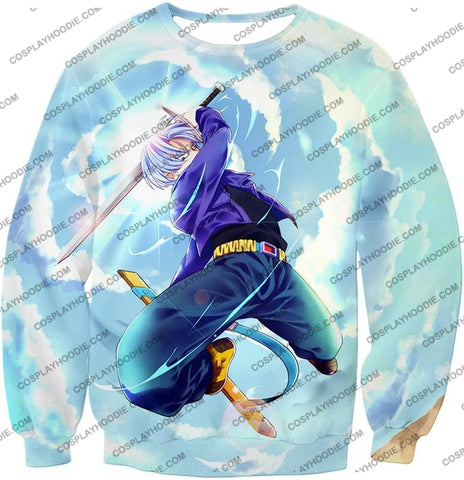 Image of Dragon Ball Super Extremely Powerful Hero Future Trunks Awesome Action White T-Shirt Dbs078