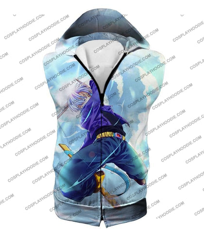 Image of Dragon Ball Super Extremely Powerful Hero Future Trunks Awesome Action White T-Shirt Dbs078 Hooded