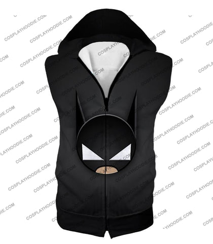 Image of Funny Batman Animated Mask Cool Black T-Shirt Bm078 Hooded Tank Top / Us Xxs (Asian Xs)