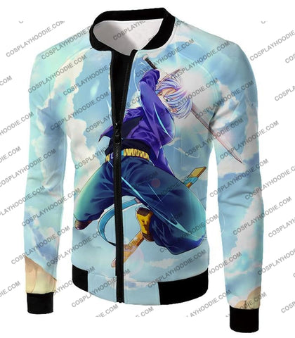 Image of Dragon Ball Super Extremely Powerful Hero Future Trunks Awesome Action White T-Shirt Dbs078 Jacket /