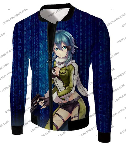 Image of Sword Art Online Cool Sao Anime Promo Asada Shino Action Black Graphic T-Shirt Sao079 Jacket / Us