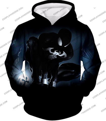 Image of Animated Black Spiderman Cool Action T-Shirt Sp008 Hoodie / Us Xxs (Asian Xs)
