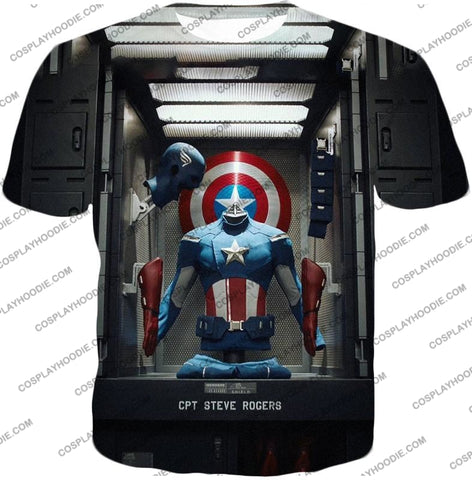 Image of Cpt. Steve Rogers As Captain America War Suit Cool T-Shirt Ca008 / Us Xxs (Asian Xs)