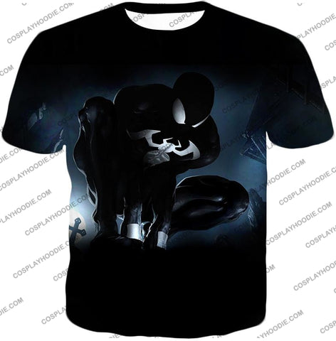 Image of Animated Black Spiderman Cool Action T-Shirt Sp008 / Us Xxs (Asian Xs)