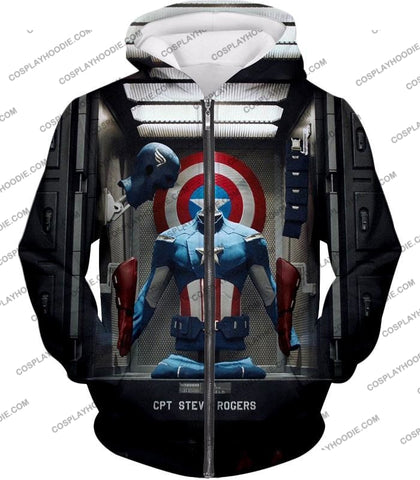Image of Cpt. Steve Rogers As Captain America War Suit Cool T-Shirt Ca008 Zip Up Hoodie / Us Xxs (Asian Xs)