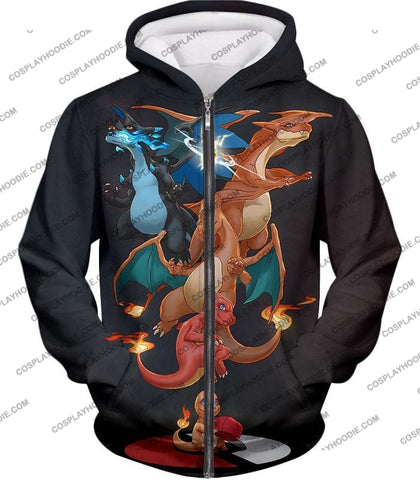 Image of Pokemon Mega Evolution Charizard All Forms Anime T-Shirt Pkm158 Zip Up Hoodie / Us Xxs (Asian Xs)