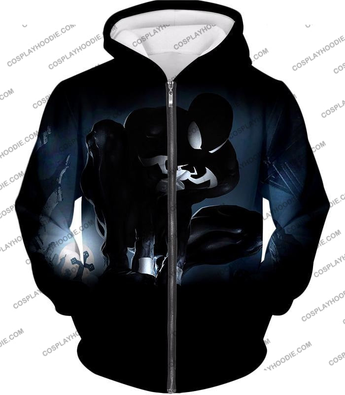 Animated Black Spiderman Cool Action T-Shirt Sp008 Zip Up Hoodie / Us Xxs (Asian Xs)