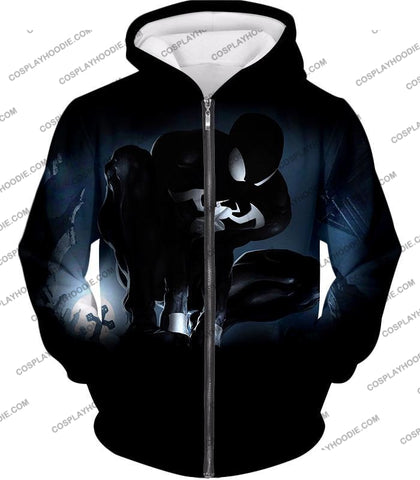 Image of Animated Black Spiderman Cool Action T-Shirt Sp008 Zip Up Hoodie / Us Xxs (Asian Xs)