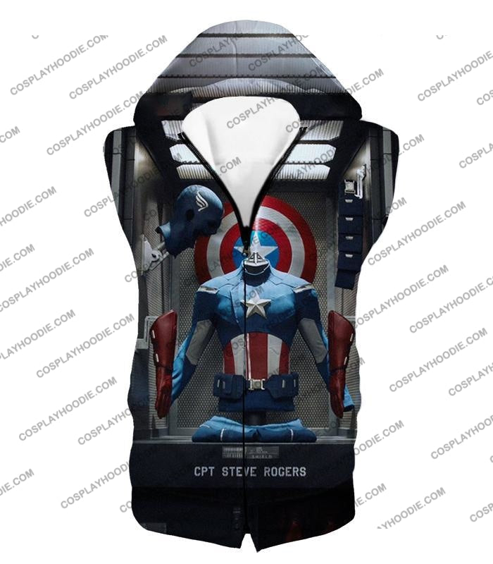 Cpt. Steve Rogers As Captain America War Suit Cool T-Shirt Ca008 Hooded Tank Top / Us Xxs (Asian Xs)