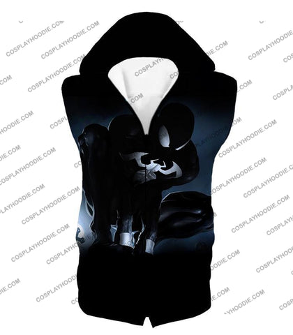 Image of Animated Black Spiderman Cool Action T-Shirt Sp008 Hooded Tank Top / Us Xxs (Asian Xs)
