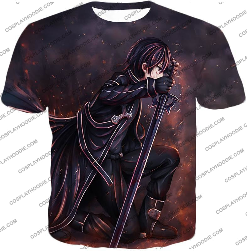 Sword Art Online Sao The Black Swordsman Kirito Ultimate Action Graphic Promo T-Shirt Sao080 / Us
