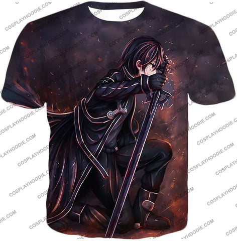 Image of Sword Art Online Sao The Black Swordsman Kirito Ultimate Action Graphic Promo T-Shirt Sao080 / Us