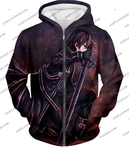 Image of Sword Art Online Sao The Black Swordsman Kirito Ultimate Action Graphic Promo T-Shirt Sao080 Zip Up
