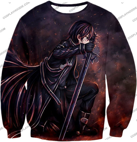 Image of Sword Art Online Sao The Black Swordsman Kirito Ultimate Action Graphic Promo T-Shirt Sao080