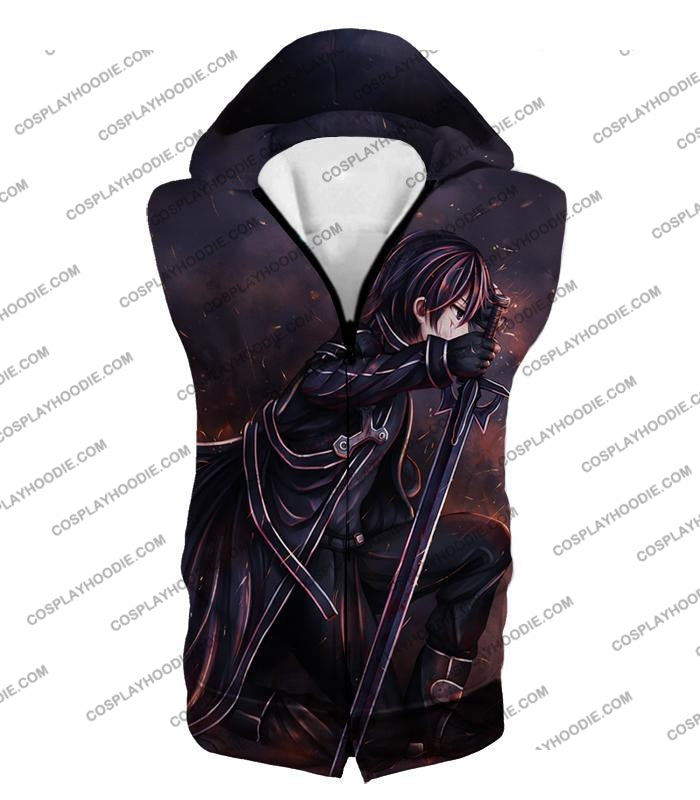 Sword Art Online Sao The Black Swordsman Kirito Ultimate Action Graphic Promo T-Shirt Sao080 Hooded