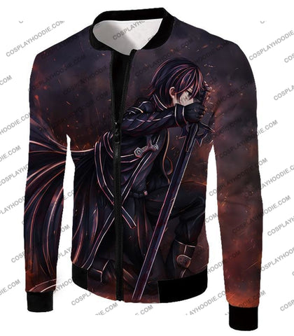 Image of Sword Art Online Sao The Black Swordsman Kirito Ultimate Action Graphic Promo T-Shirt Sao080 Jacket