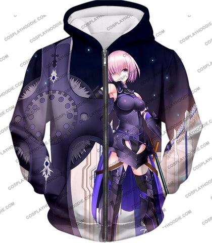 Image of Fate Stay Night Cool Grand Order Demi-Servant Mash Kyrielight T-Shirt Fsn081 Zip Up Hoodie / Us Xxs