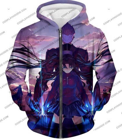 Image of Fate Stay Night Rin Tohsaka And Archer Shirou Action T-Shirt Fsn083 Zip Up Hoodie / Us Xxs (Asian