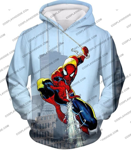 Image of Awesome Web Slinging Hero Spiderman Animated Action T-Shirt Sp085 Hoodie / Us Xxs (Asian Xs)