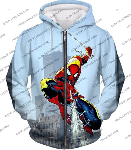Image of Awesome Web Slinging Hero Spiderman Animated Action T-Shirt Sp085 Zip Up Hoodie / Us Xxs (Asian Xs)