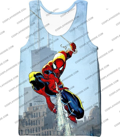 Image of Awesome Web Slinging Hero Spiderman Animated Action T-Shirt Sp085 Tank Top / Us Xxs (Asian Xs)