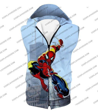 Image of Awesome Web Slinging Hero Spiderman Animated Action T-Shirt Sp085 Hooded Tank Top / Us Xxs (Asian