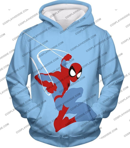 Image of Super Cool Animated Spiderman Web Action Blue T-Shirt Sp086 Hoodie / Us Xxs (Asian Xs)