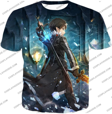 Image of Sword Art Online Ultimate Swordsman Kirito Anime Action Graphic Promo T-Shirt Sao086 / Us Xxs (Asian