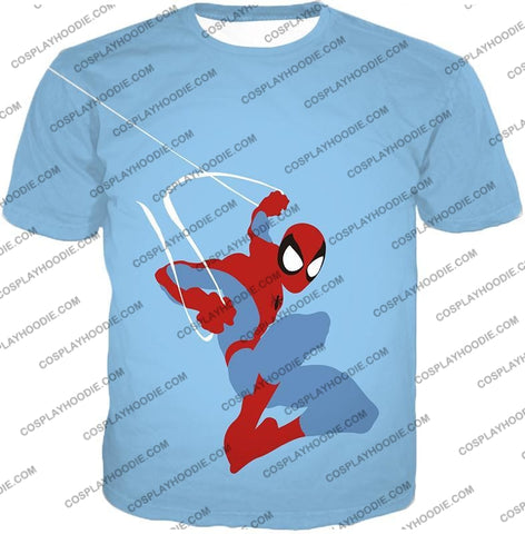 Image of Super Cool Animated Spiderman Web Action Blue T-Shirt Sp086 / Us Xxs (Asian Xs)