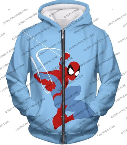 Image of Super Cool Animated Spiderman Web Action Blue T-Shirt Sp086 Zip Up Hoodie / Us Xxs (Asian Xs)