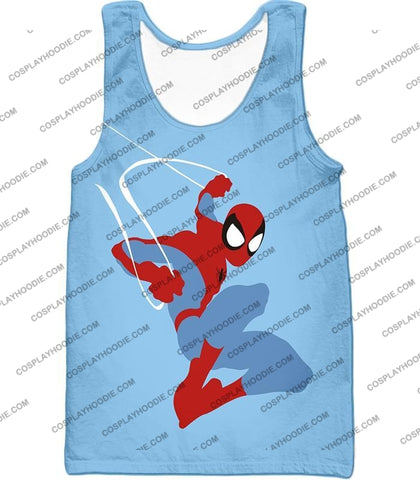 Image of Super Cool Animated Spiderman Web Action Blue T-Shirt Sp086 Tank Top / Us Xxs (Asian Xs)