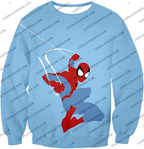 Image of Super Cool Animated Spiderman Web Action Blue T-Shirt Sp086 Sweatshirt / Us Xxs (Asian Xs)