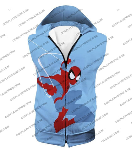 Image of Super Cool Animated Spiderman Web Action Blue T-Shirt Sp086 Hooded Tank Top / Us Xxs (Asian Xs)