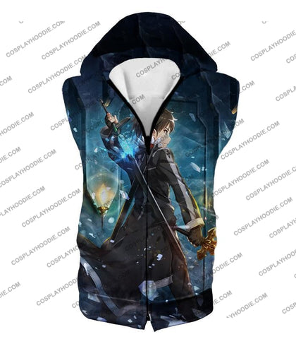 Image of Sword Art Online Ultimate Swordsman Kirito Anime Action Graphic Promo T-Shirt Sao086 Hooded Tank Top