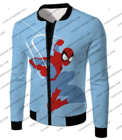 Image of Super Cool Animated Spiderman Web Action Blue T-Shirt Sp086 Jacket / Us Xxs (Asian Xs)