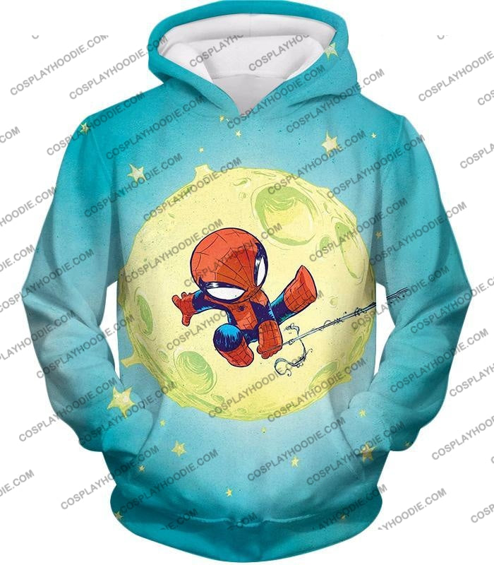 Cute Animated Spiderman Swinging Cool Blue T-Shirt Sp087 Hoodie / Us Xxs (Asian Xs)