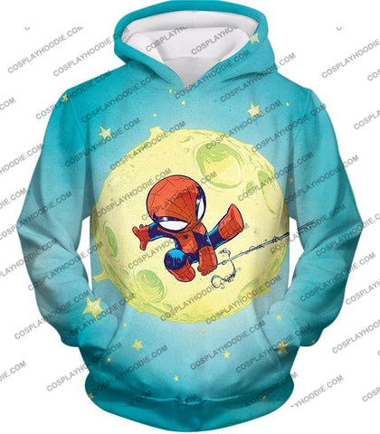 Image of Cute Animated Spiderman Swinging Cool Blue T-Shirt Sp087 Hoodie / Us Xxs (Asian Xs)