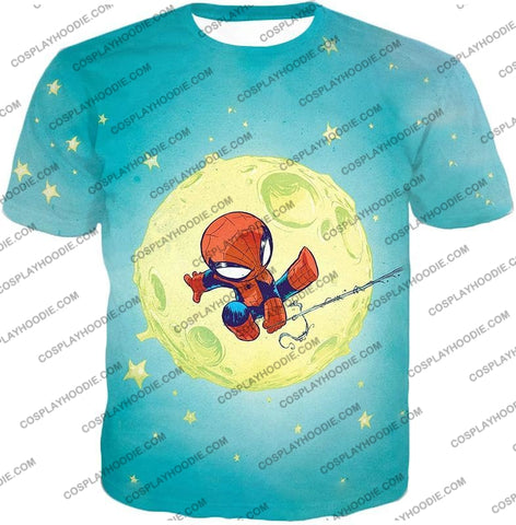 Image of Cute Animated Spiderman Swinging Cool Blue T-Shirt Sp087 / Us Xxs (Asian Xs)
