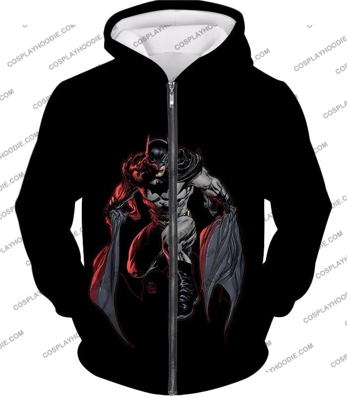 Powerful Dc Hero Batman Ultimate Graphics Cool Black T-Shirt Bm087 Zip Up Hoodie / Us Xxs (Asian Xs)
