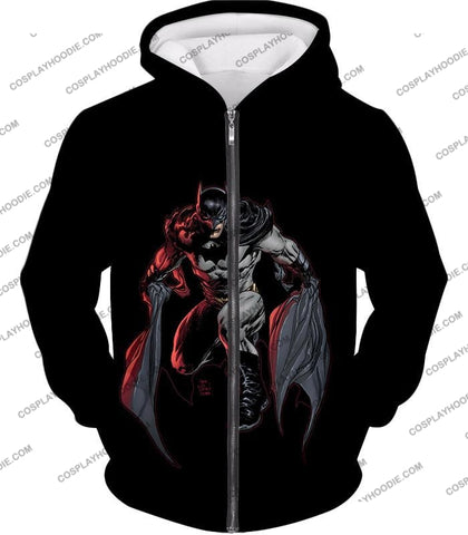 Image of Powerful Dc Hero Batman Ultimate Graphics Cool Black T-Shirt Bm087 Zip Up Hoodie / Us Xxs (Asian Xs)
