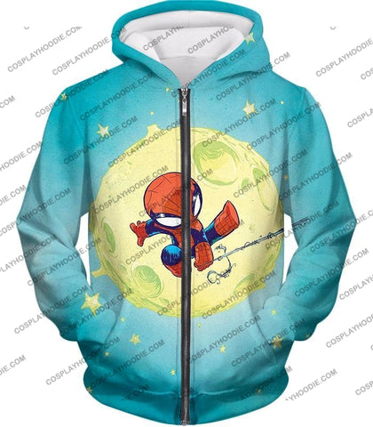 Image of Cute Animated Spiderman Swinging Cool Blue T-Shirt Sp087 Zip Up Hoodie / Us Xxs (Asian Xs)