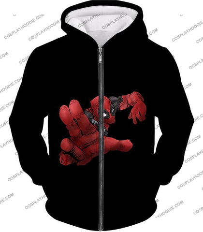 Image of Super Cool Soldier Deadpool Action Black T-Shirt Dp087 Zip Up Hoodie / Us Xxs (Asian Xs)