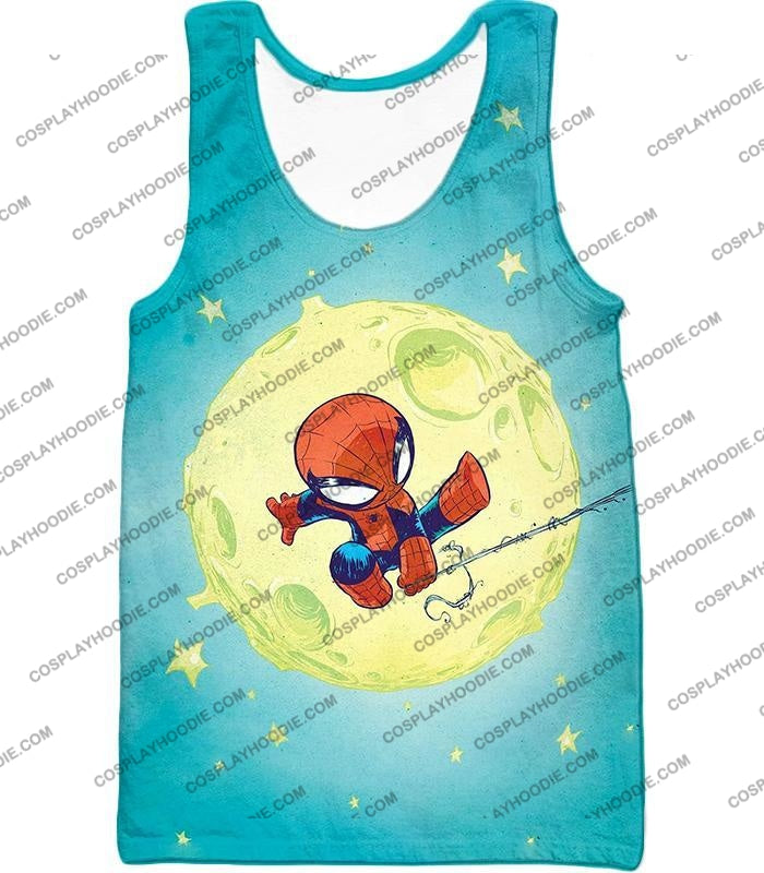Cute Animated Spiderman Swinging Cool Blue T-Shirt Sp087 Tank Top / Us Xxs (Asian Xs)