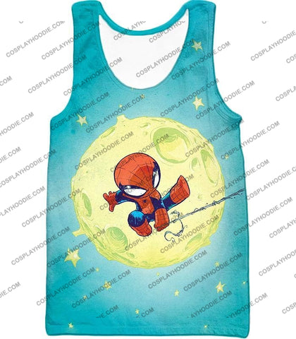 Image of Cute Animated Spiderman Swinging Cool Blue T-Shirt Sp087 Tank Top / Us Xxs (Asian Xs)