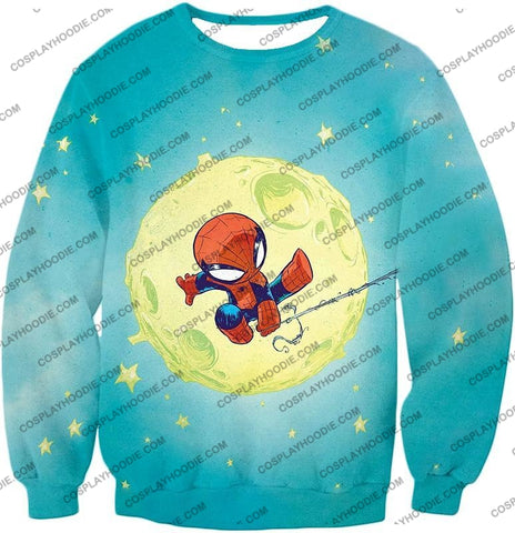 Image of Cute Animated Spiderman Swinging Cool Blue T-Shirt Sp087 Sweatshirt / Us Xxs (Asian Xs)