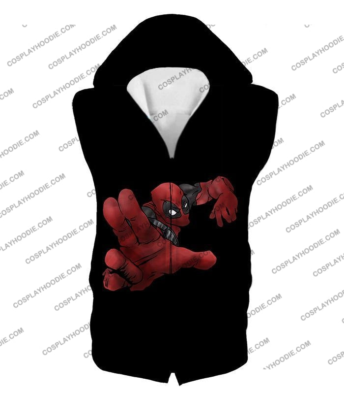 Super Cool Soldier Deadpool Action Black T-Shirt Dp087 Hooded Tank Top / Us Xxs (Asian Xs)
